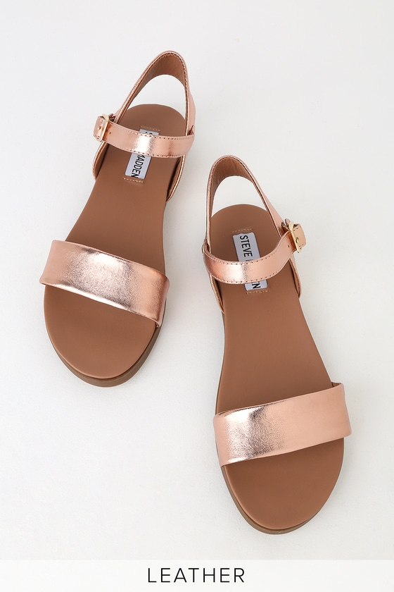 7eab4013091 Dina Rose Gold Leather Flat Sandals