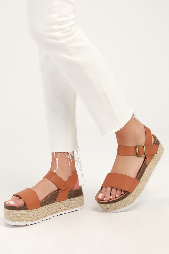 Dirty Laundry PALMS SMOOTH SADDLE BROWN ESPADRILLE FLATFORM SANDALS