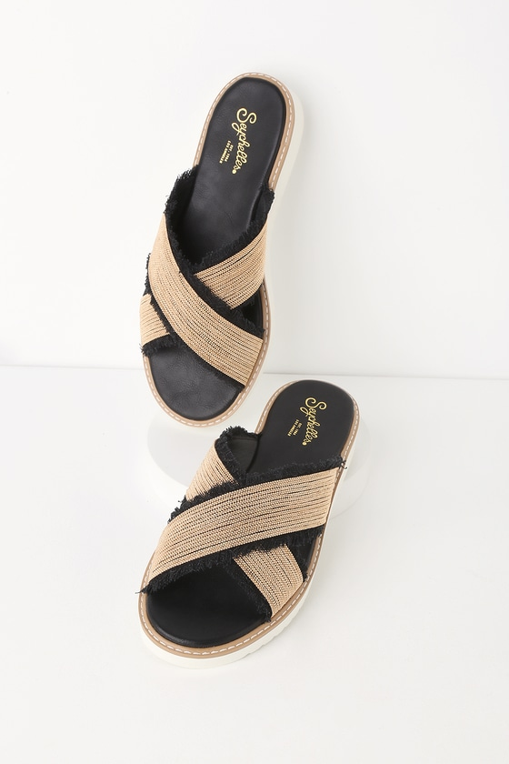 1b5e13eaa979a Seychelles Jasmine - Gold and Black Sandals - Slide Sandals