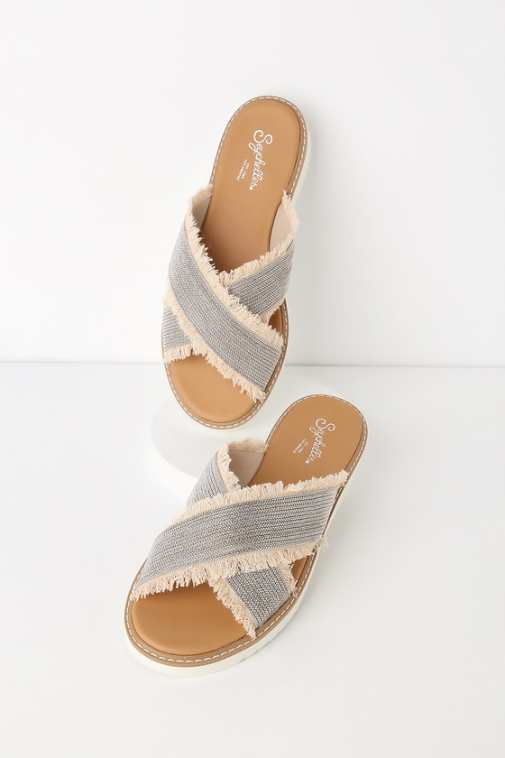 ca8b006c87681 Seychelles Jasmine - Silver and Natural Sandals - Slide Sandals