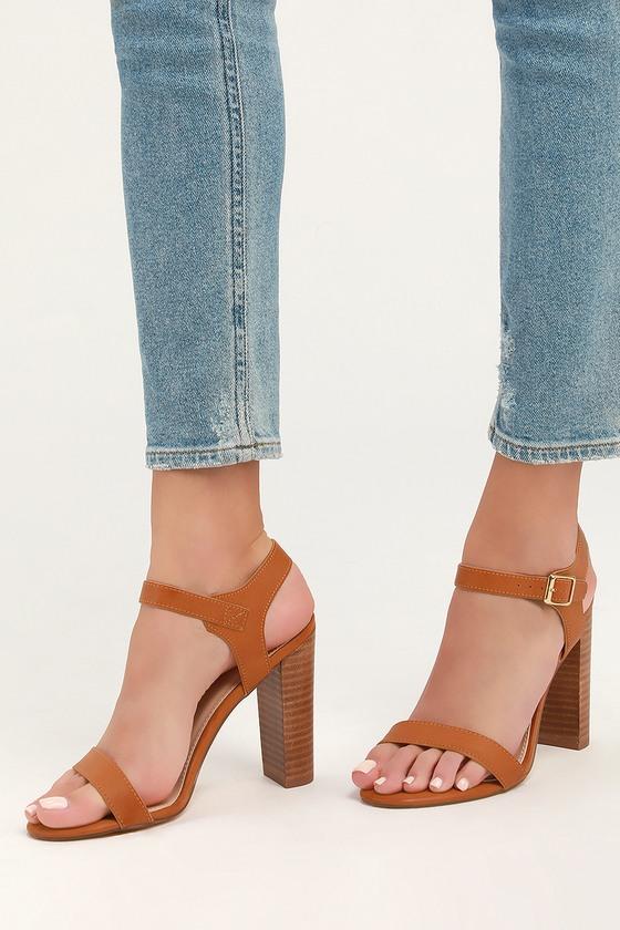 4ee76252885 Cute Natural Heels - Ankle Strap Heels - Tan Leather Heels