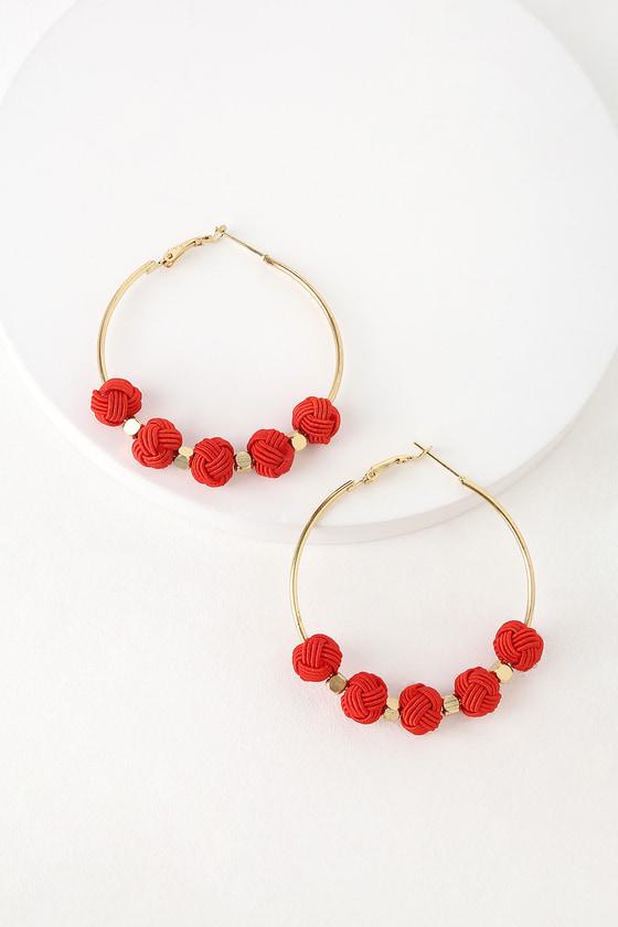 23f6e7a92e7fab Boho Gold and Red Earrings - Hoop Earrings - Pompom Earrings