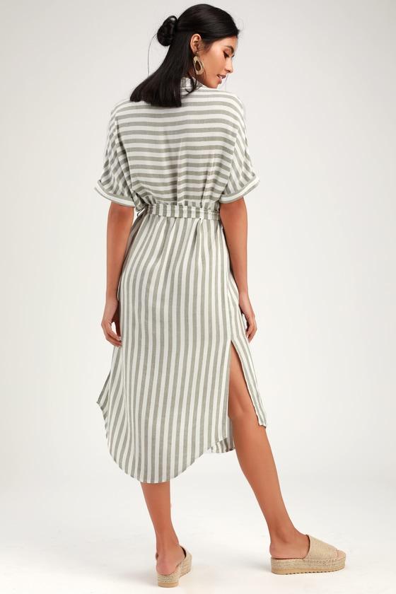 acd2f49ded Socialite Kersee - Green Striped Dress - Striped Midi Dress