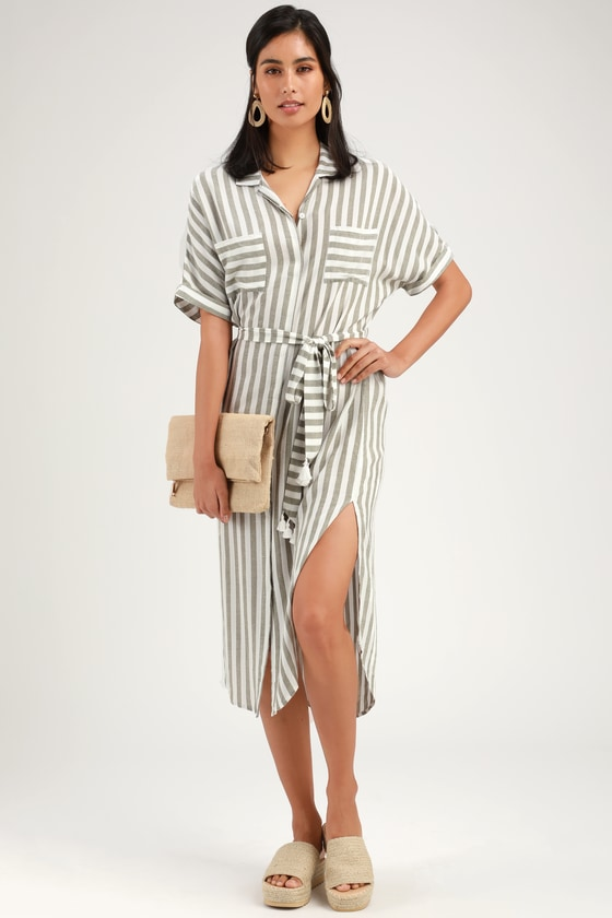 Kersee Olive Green and White Striped Midi Shirt Dress