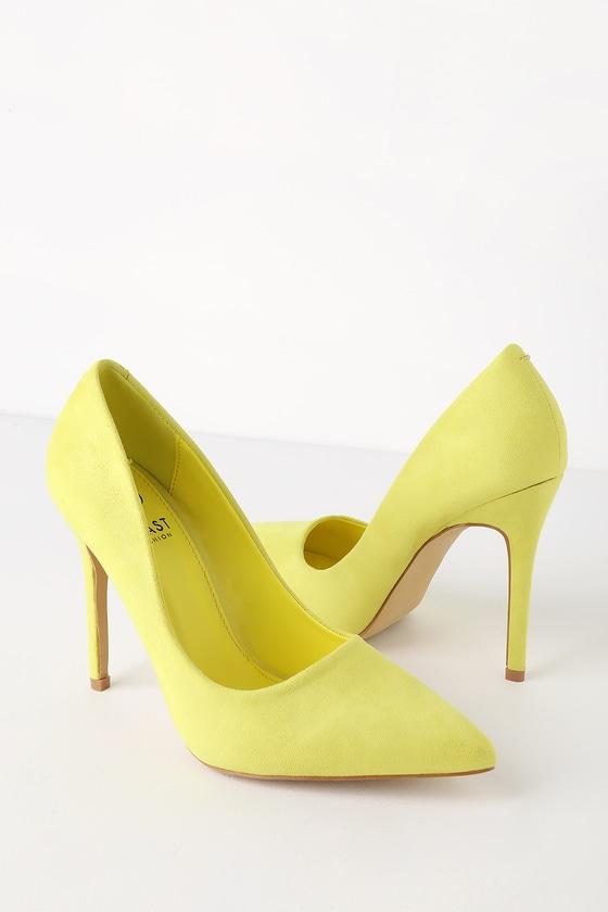 f2cbec5dc89 Chic Neon Yellow Heels - Vegan Suede Pumps - Pointed Toe Pumps
