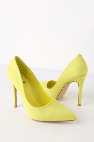 32d8a3968d0c Simona Neon Yellow Suede Pointed Toe Pumps