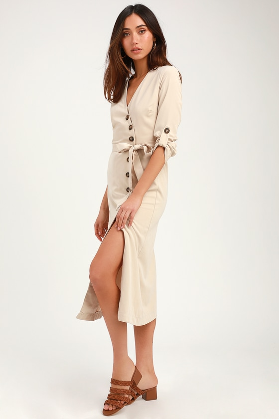 PULL ME CLOSE LIGHT BEIGE SUEDE BUTTON-UP MIDI DRESS