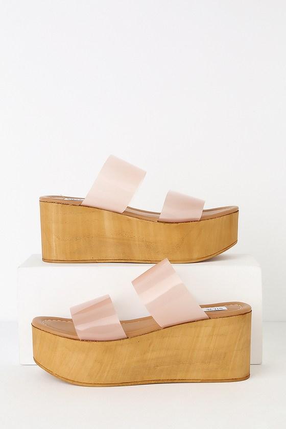 012adde5e32 Steve Madden Confession - Blush Wedge Sandals - Vinyl Sandals