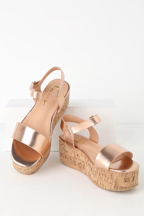 2ba91a66ec82 Cute Rose Gold Cork Wedges - Cork Wedge Sandals - Metallic Wedges