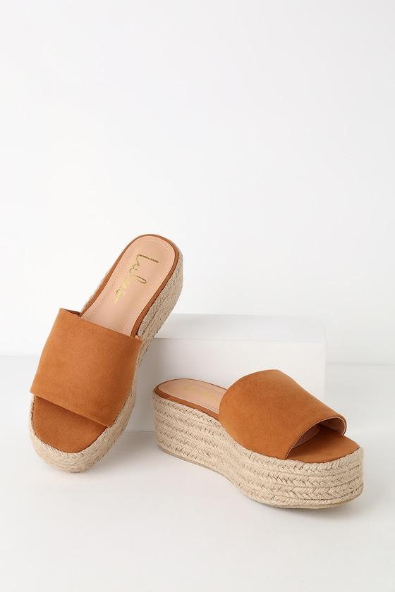 40be2eb11 Cute Brown Espadrille Slides - Tan Espadrilles - Suede Slides