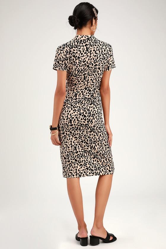 74513a40cf Cute Leopard Print Shirt Dress - Midi Dress - Button-Up Dress