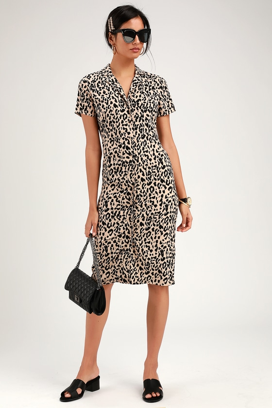 61d15c2b4 Cute Leopard Print Shirt Dress - Midi Dress - Button-Up Dress