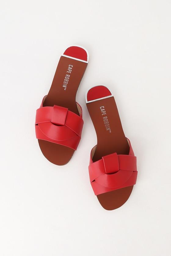 c4a16cb862b71 Cute Red Slide Sandals - Flat Sandals - Peep-Toe Sandals