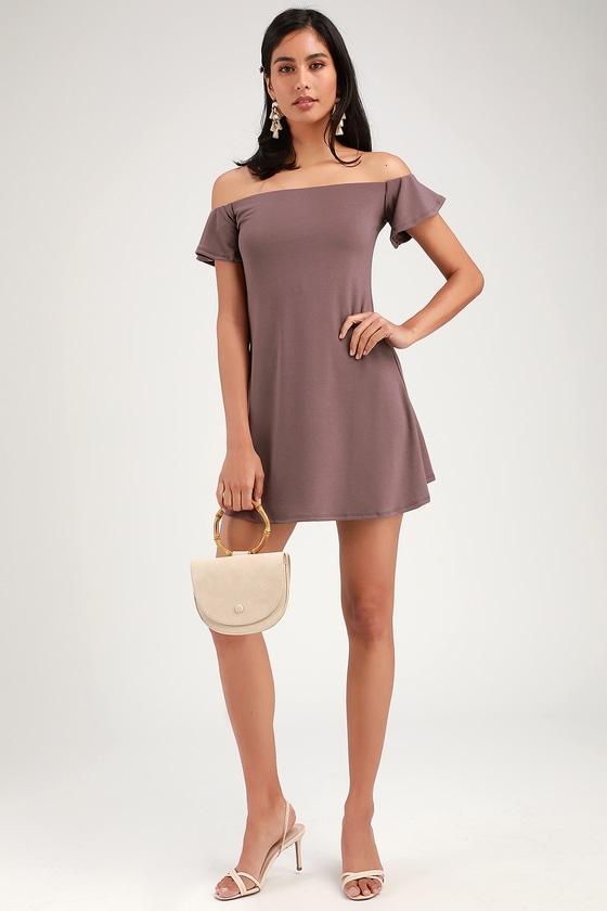 43fb081ce579 Cute Dusty Purple Dress - Off-the-Shoulder Dress - Swing Dress