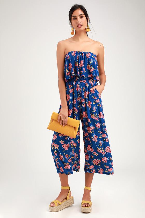 8d10bec497ec Cute Blue Floral Print Jumpsuit - Strapless Jumpsuit - Culottes