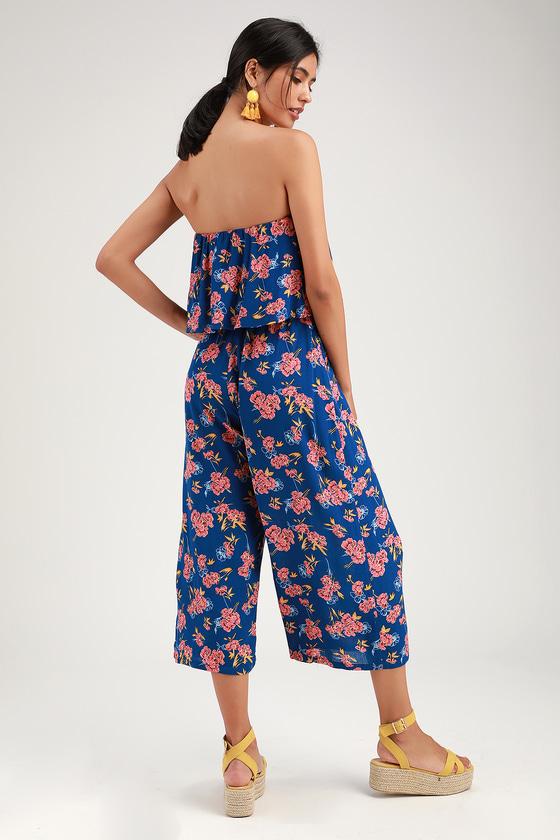 0001435bc4bd Sunset Garden Royal Blue Floral Print Strapless Culotte Jumpsuit