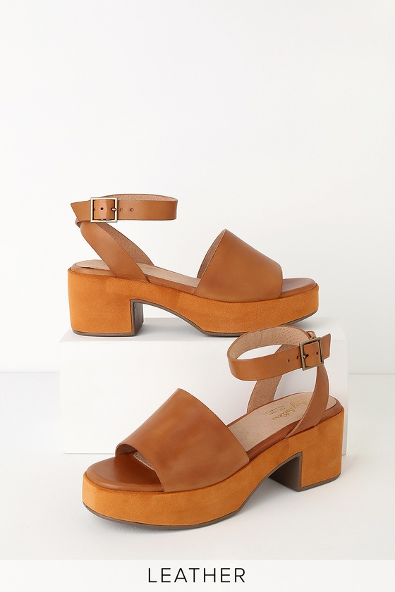 bb50110c4862 Seychelles Calming Influence - Tan Leather Heels - Platform Heels
