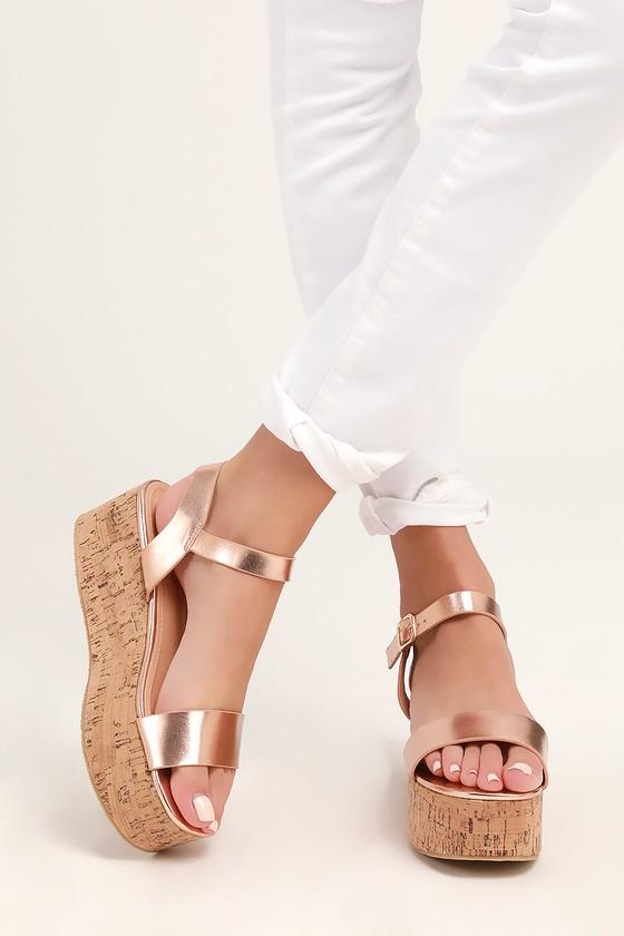 99efd2cdf4687 Cute Rose Gold Cork Wedges - Cork Wedge Sandals - Metallic Wedges