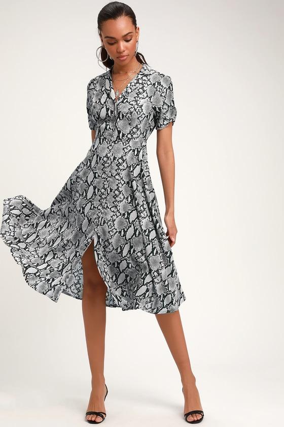 c3eced1a69 Chic Grey Snake Print Dress - Collared Dress - Snake Midi Dress