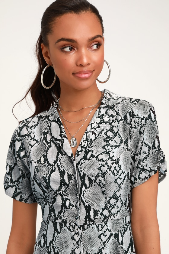 fc426601d5d Chic Grey Snake Print Dress - Collared Dress - Snake Midi Dress