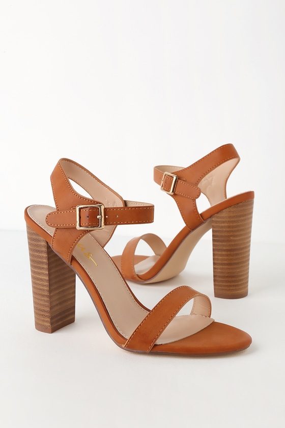 9f1e3a730 Cute Natural Heels - Ankle Strap Heels - Tan Leather Heels