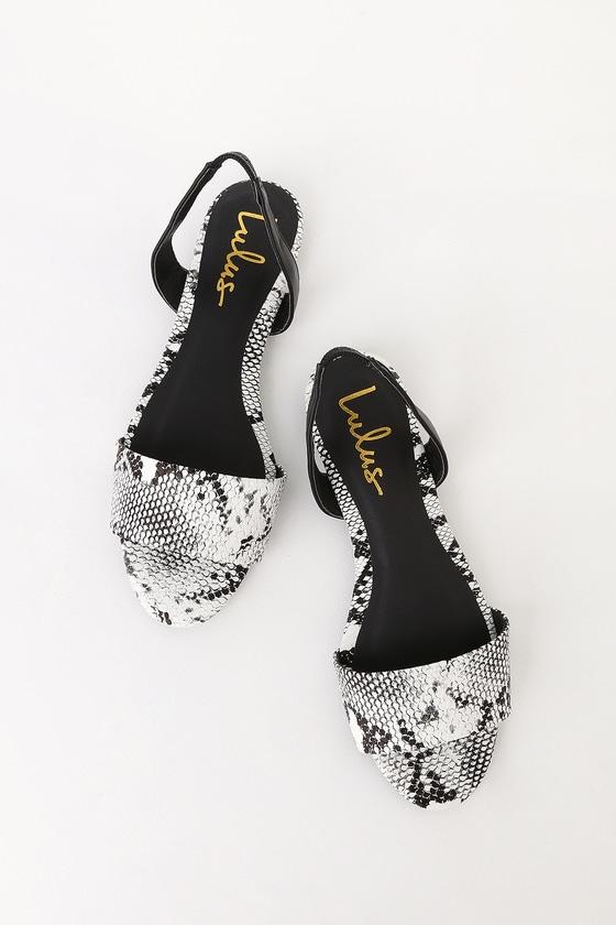 828cd70047a27 Madora Black and White Snake Print Slingback Flat Sandals