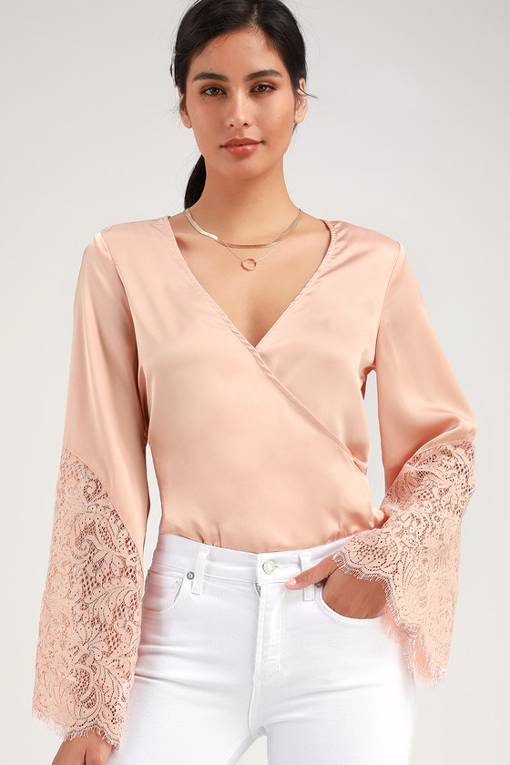 b0c42f85097838 Pretty Pink Satin Bodysuit - Long Sleeve Bodysuit - Lace Bodysuit