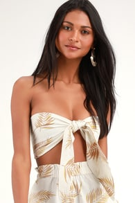 Sincerely Yours Cream Leaf Print Tie-Front Bandeau Top 8472aacd88e6