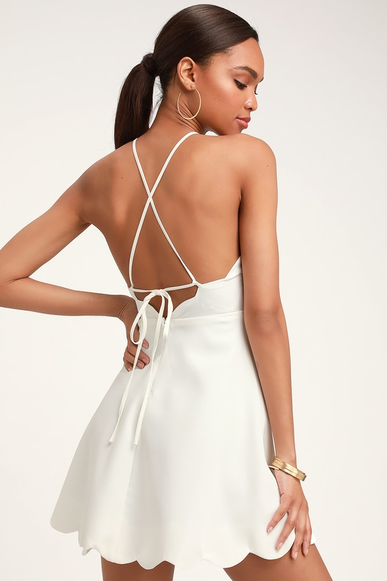 a3ffba9ef63 Ivory Dress - Halter Dress - Backless Dress - Scallop Dress