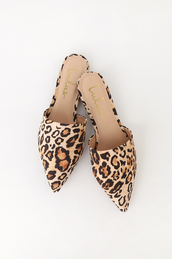 03fd41f3d Leopard Suede Slides - Pointed Toe Slides - Pointed Toe Mules