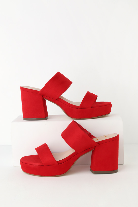 Lulus Exclusive! Step out on the town and step up your look with the Lulus Clara Red Suede Platform Mules! These chic mules, formed from soft vegan suede, feature a strappy upper and trendy platform design. 1.25\