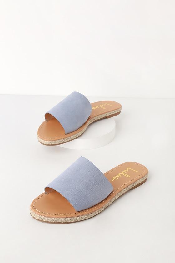 c08bc76fdce97d Cute Denim Blue Sandals - Slide Sandals - Blue Espadrille Sandals