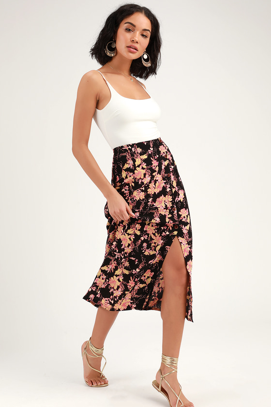 822f2b766a Free People Retro Love - Floral Midi Skirt - Black Midi Skirt