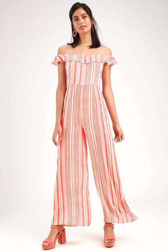 4d371ed8296 Cute Striped Jumpsuit - OTS Jumpsuit - Orange and White Jumpsuit