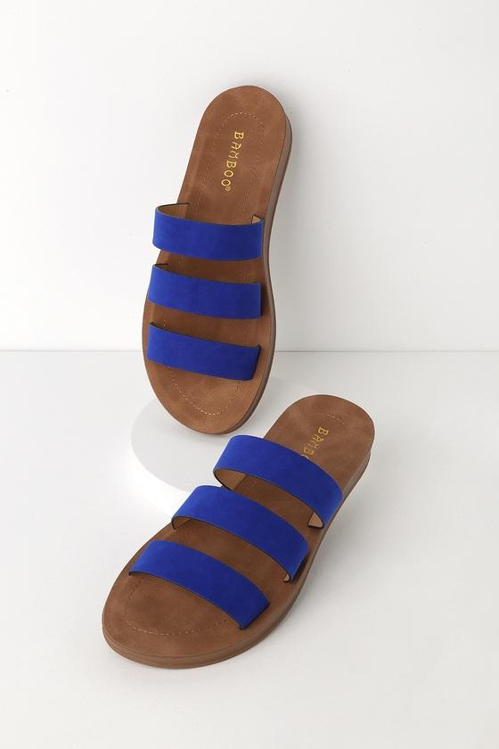 c8744c5c69d5b5 Cute Blue Slide Sandals - Suede Slides - Peep-Toe Slides