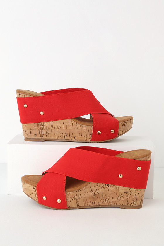 b268014f5978 Lulus - Red Wedges - Black Cork Wedge Sandals - Cork Sandals
