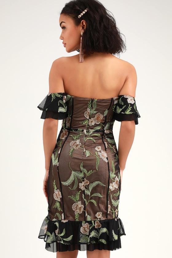 8469c3b037f RYSE The Label Makayla - Black Mesh Dress - Embroidered Dress