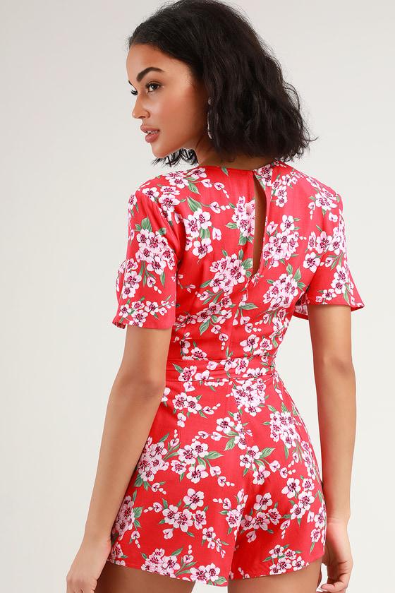 62b1a2f5c74 Cute Coral Red Romper - Floral Print Romper - Short Sleeve Romper