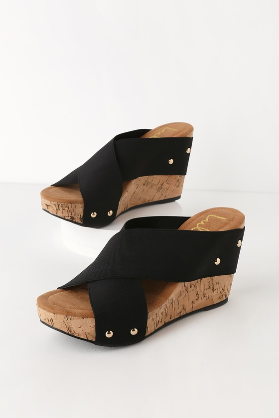 d20b5524e232 Chic Black Wedges - Black Cork Wedge Sandals - Cork Sandals