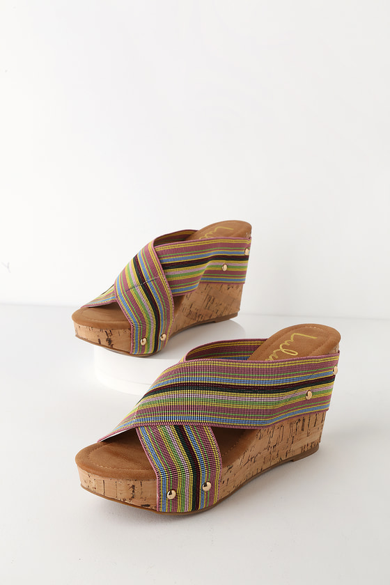 54fe478df77 Chic Blue Striped Wedges - Striped Cork Wedge Sandals