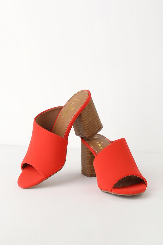 Cate Blood Orange Nubuck Peep Toe Mules by Lulus