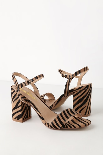 5547d99b1264 Arya Brown Zebra Print Suede High Heel Sandals