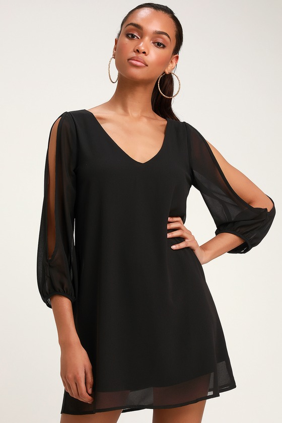 9ed6b675b2f2 Pretty Black Dress - Shift Dress - Cold Shoulder Dress
