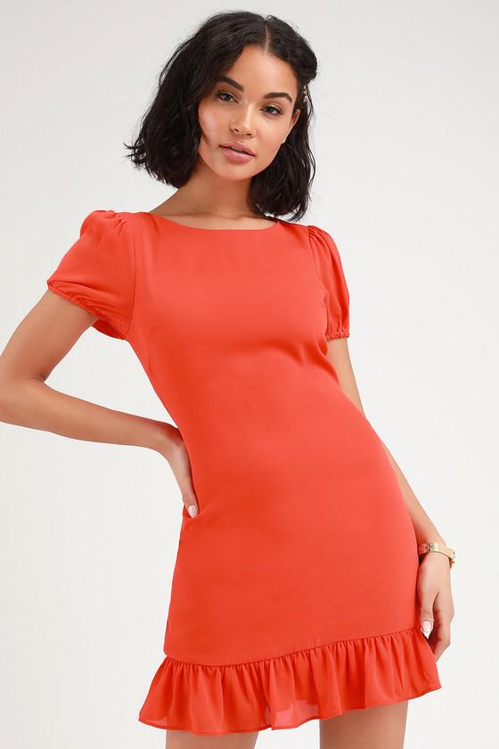4dc37e3f5a Cute Coral Red Dress - Ruffled Mini Dress - Short Sleeve Dress