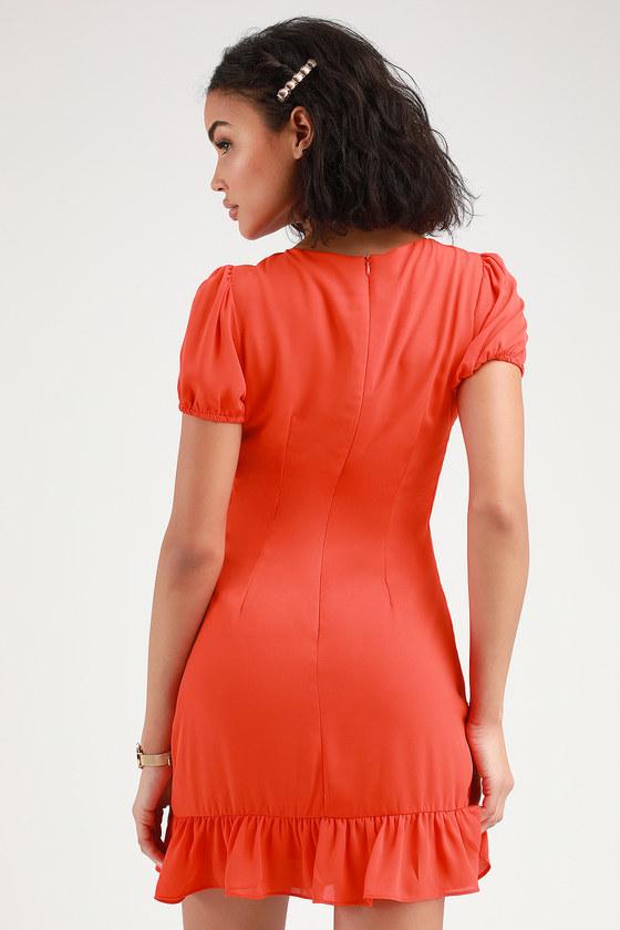 da90deadf40 Cute Coral Red Dress - Ruffled Mini Dress - Short Sleeve Dress