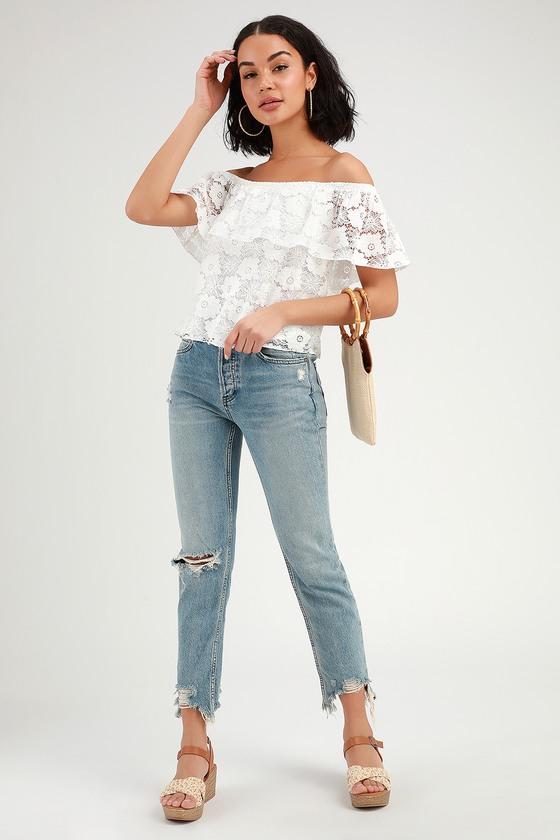 3de67ae75b8468 Cute White Lace Top - Off the Shoulder Crop Top - OTS Lace Top