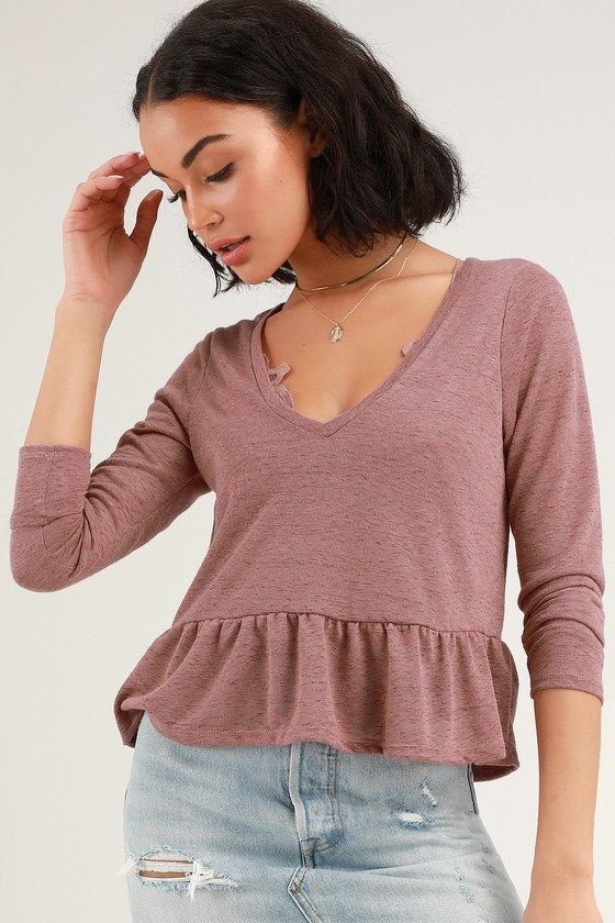 ed5fa8acb026b9 Cute Mauve Slub Knit Top - Long Sleeve Top - Mauve Peplum Top