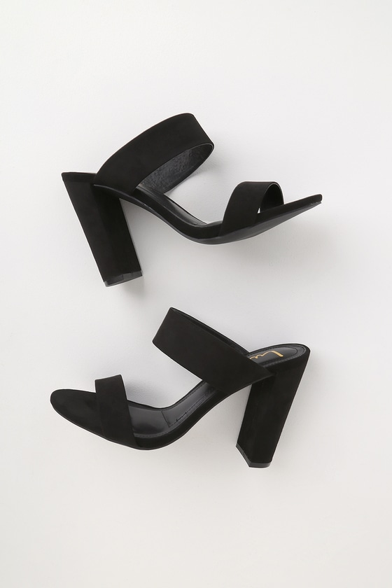 Lulus Exclusive! Strut in style and with confidence in the Lulus Marlowe Black Suede High Heel Sandals! Soft black vegan suede shapes a cute peep-toe upper with a matching vamp strap and single sole design. Pair with a classy jumpsuit and blazer for a sophisticated chic look. 4. 5\