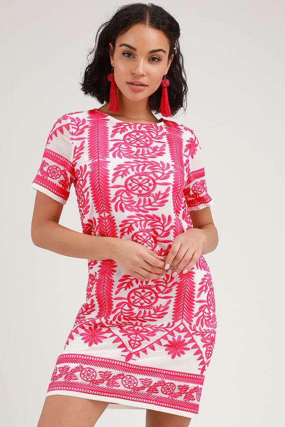 Fond of You Hot Pink Embroidered Short Sleeve Shift Dress