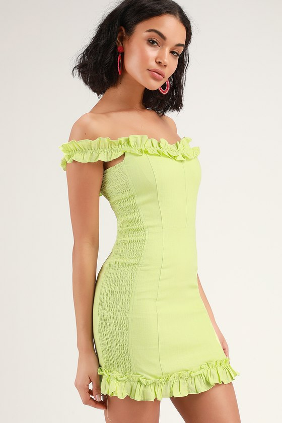 535a610a3c0 Lime Green Dress - Ruffled Off-the-Shoulder Dress - Bodycon Dress